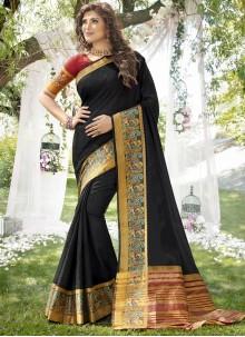 Classic Saree Weaving Art Silk in Black