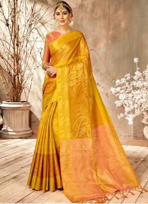 Classic Saree Weaving Art Silk in Orange