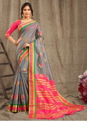 Classic Saree Weaving Cotton in Grey
