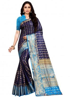 Classic Saree Weaving Kanjivaram Silk in Navy Blue
