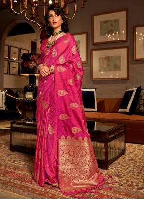 Classic Saree Weaving Satin Silk in Hot Pink