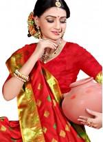 Classic Saree Woven Cotton Silk in Red