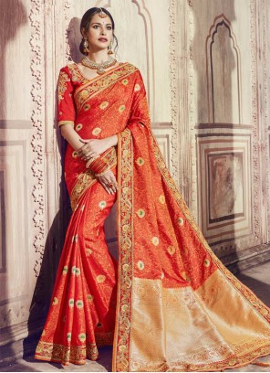Classic Saree Zari Banarasi Silk in Orange
