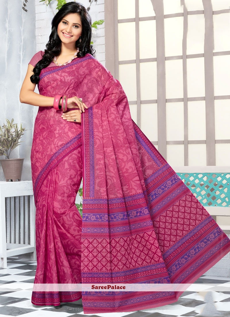 Classical Cotton   Abstract Print Work Printed Saree