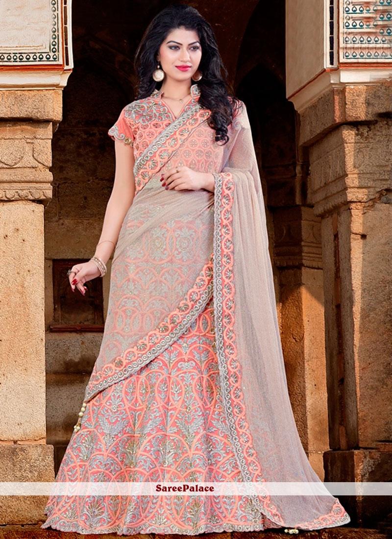 Classical Raw Silk Pink Lace Work Lehenga Choli