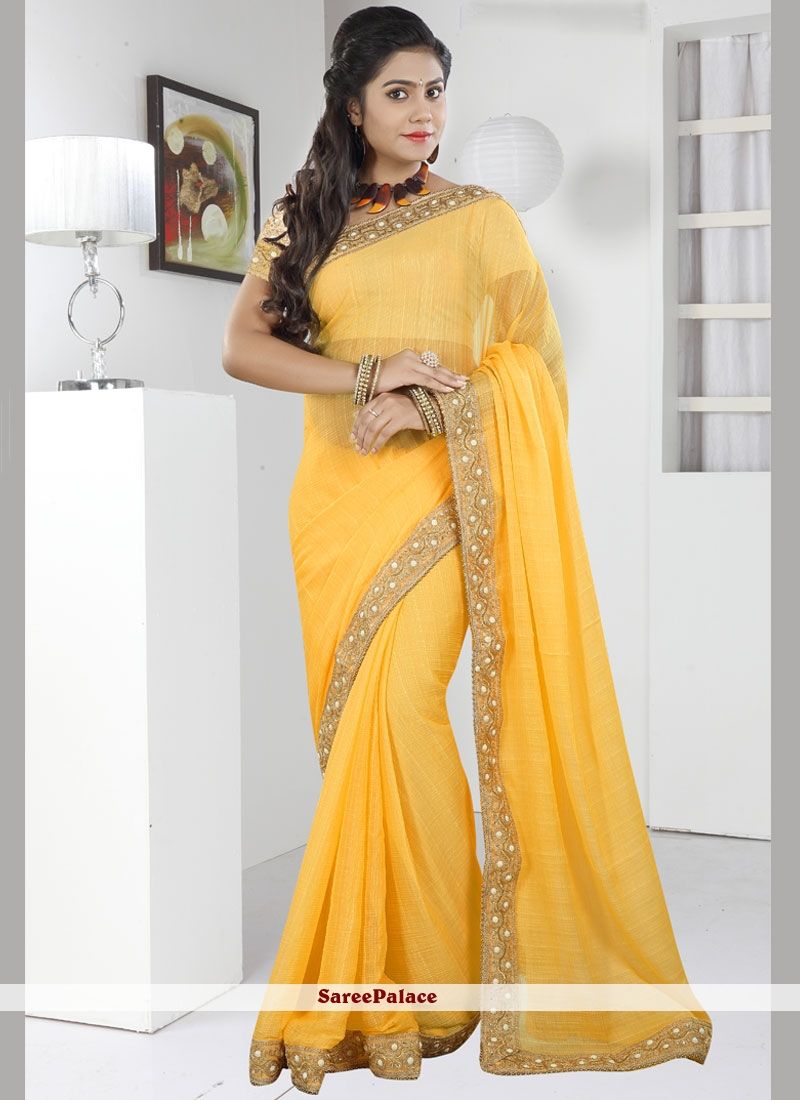 Classical Yellow Patch Border Work Faux Chiffon Classic Saree