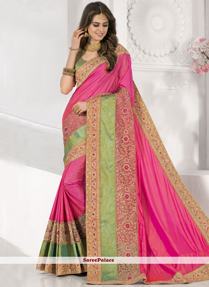 Classy Art Silk Hot Pink Traditional  Saree