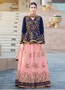 Classy Banglori Silk Resham Work Long Choli Lehenga