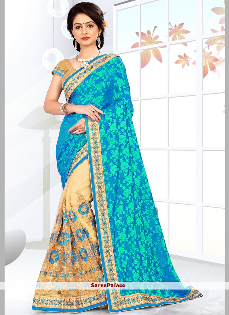 Classy Beige and Turquoise Net Half N Half  Saree
