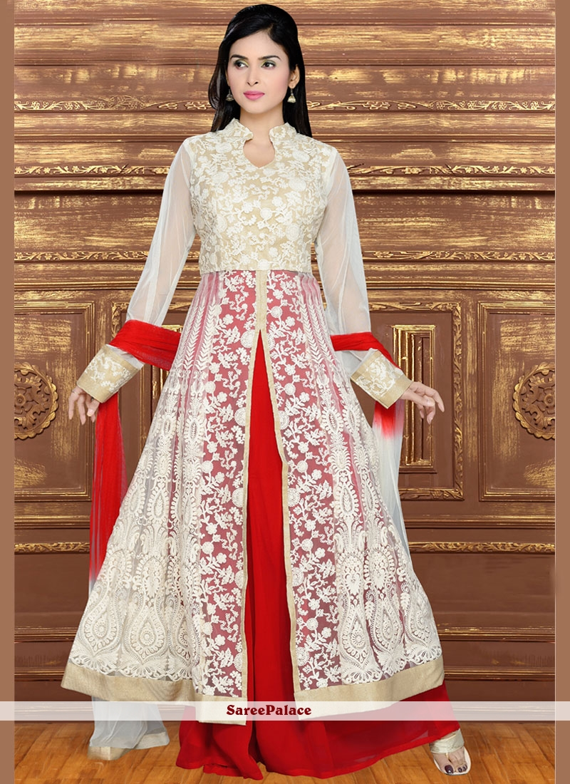 Classy Faux Georgette Red and White Lace Work Long Choli Lehenga