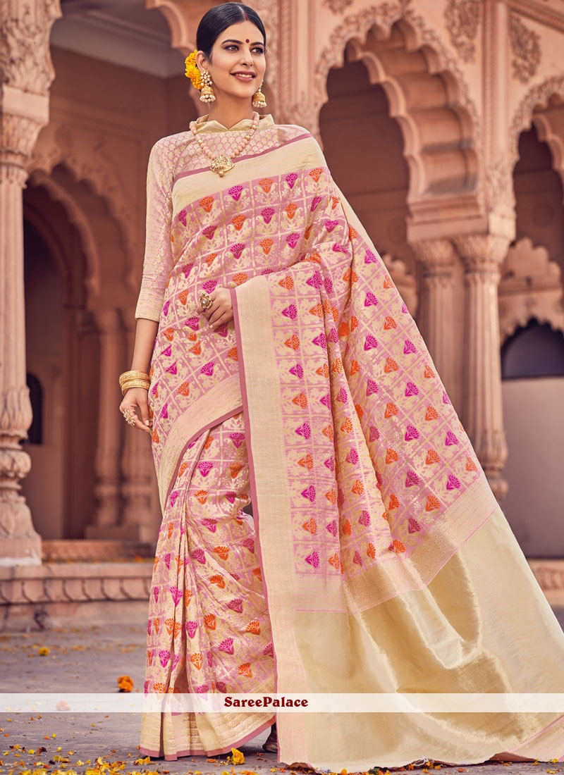 Classy Pink Weaving Work Art Silk Traditional Designer Saree