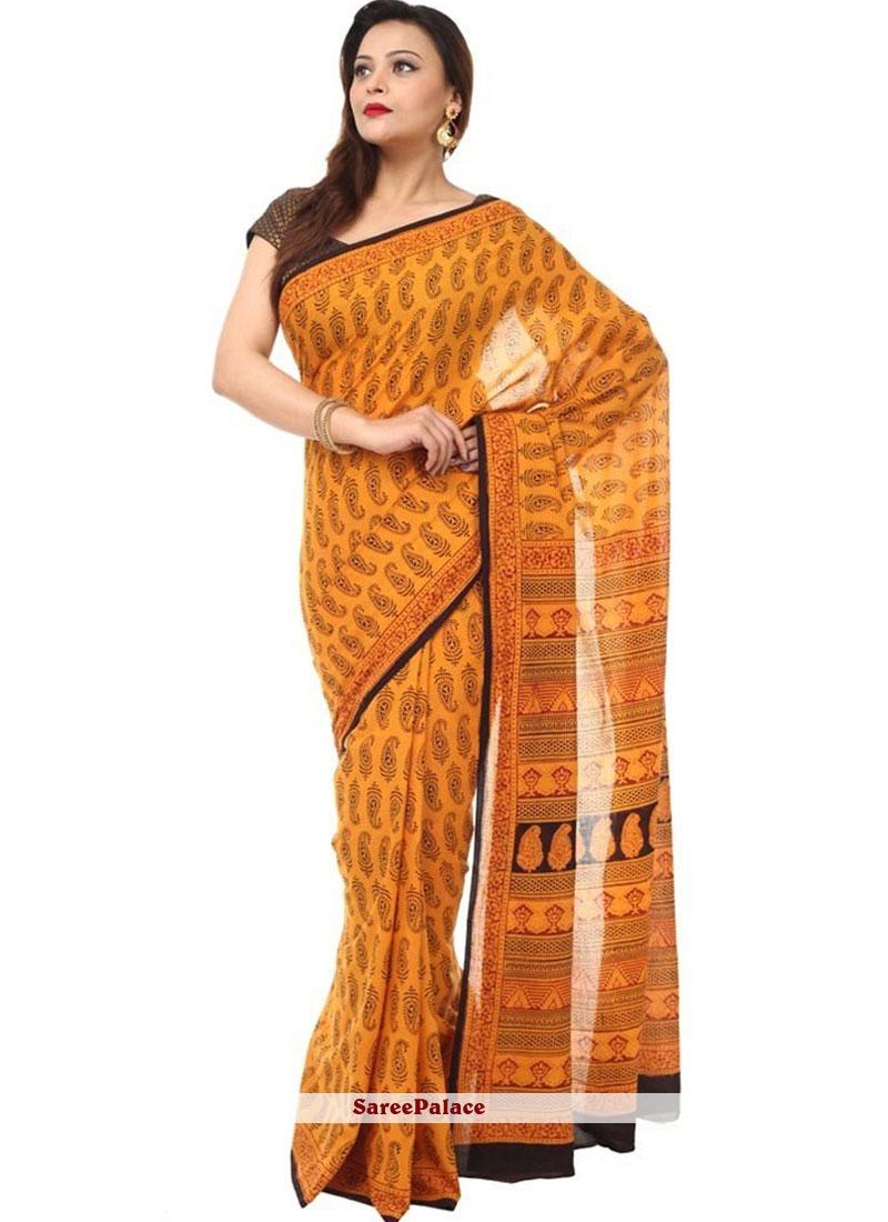 Classy Print Work Cotton   Classic Designer Saree