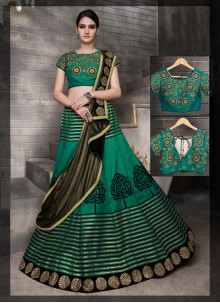 Classy Tussar Silk Green Embroidered Work A Line Lehenga Choli