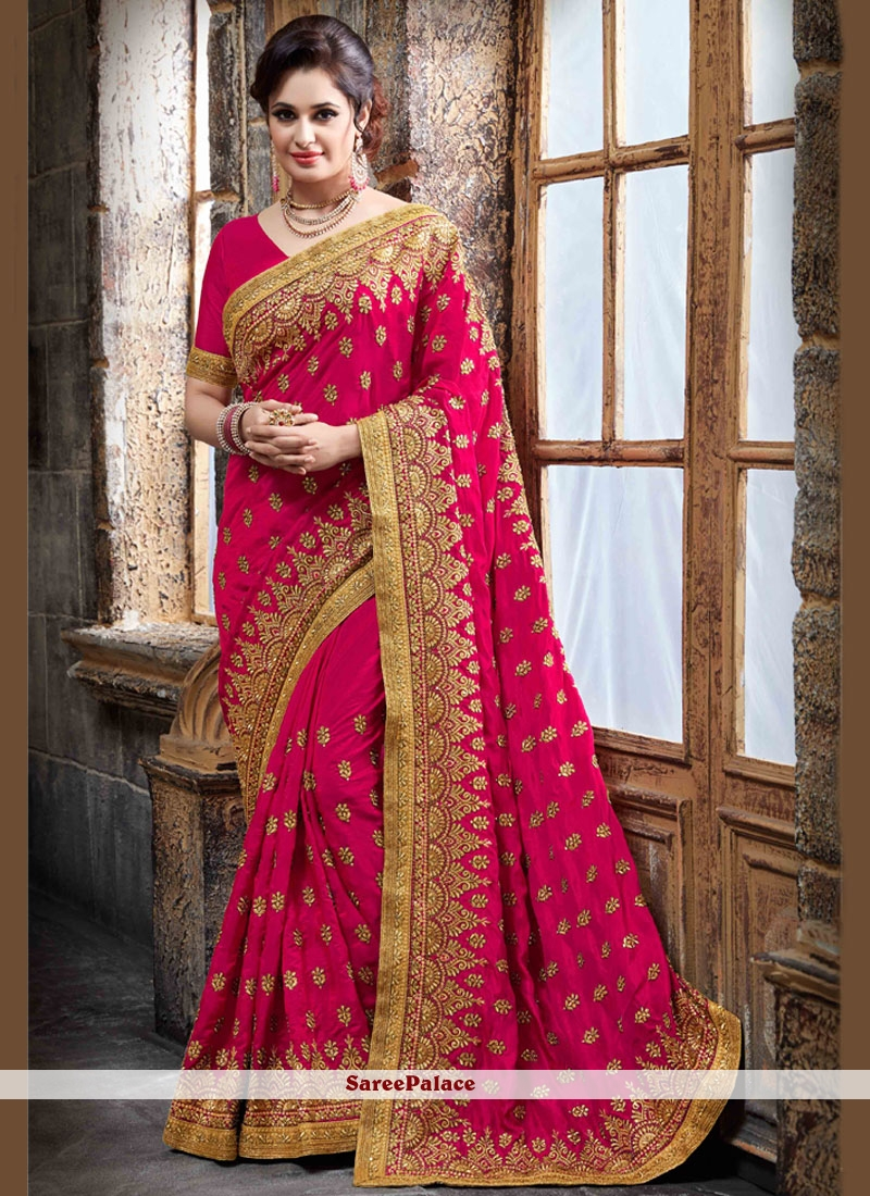 Compelling Crepe Silk Hot Pink Embroidered Work Designer Traditional Saree