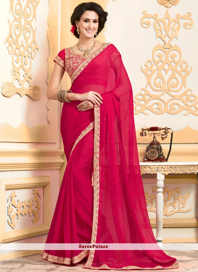 Compelling Faux Chiffon Hot Pink Classic Designer Saree