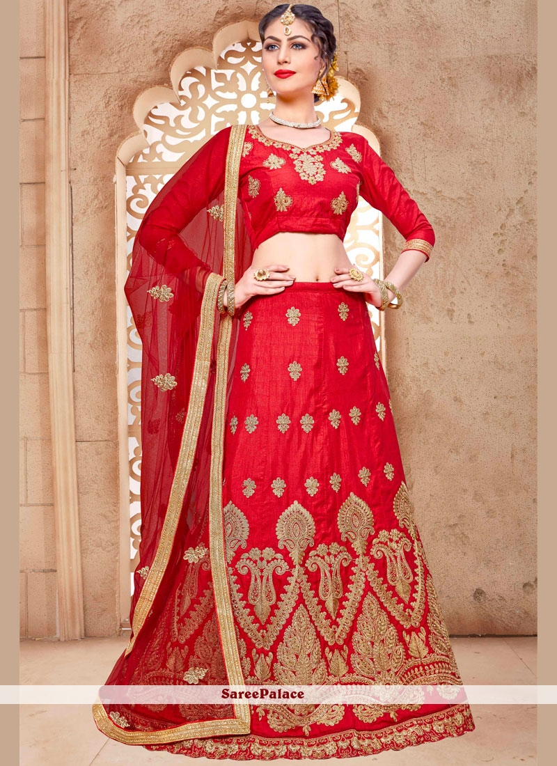 Compelling Malbari Silk  Red Lehenga Choli