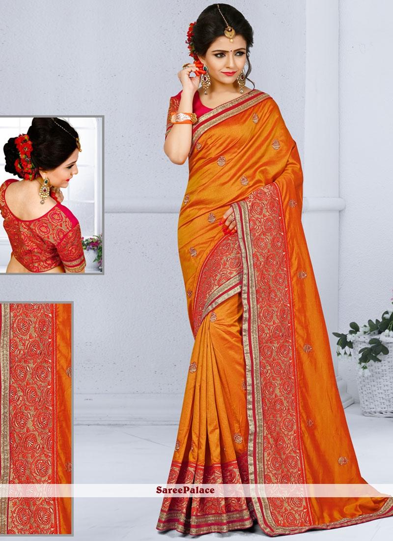 Compelling Orange Designer Traditional Saree