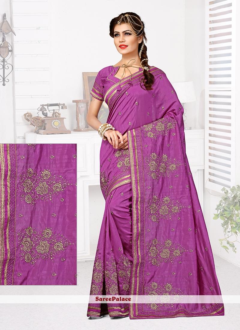 Compelling Purple Patch Border Work Bhagalpuri Silk Designer Traditional Saree