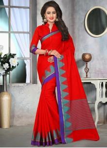 Compelling Red Thread Work Cotton   Designer Saree