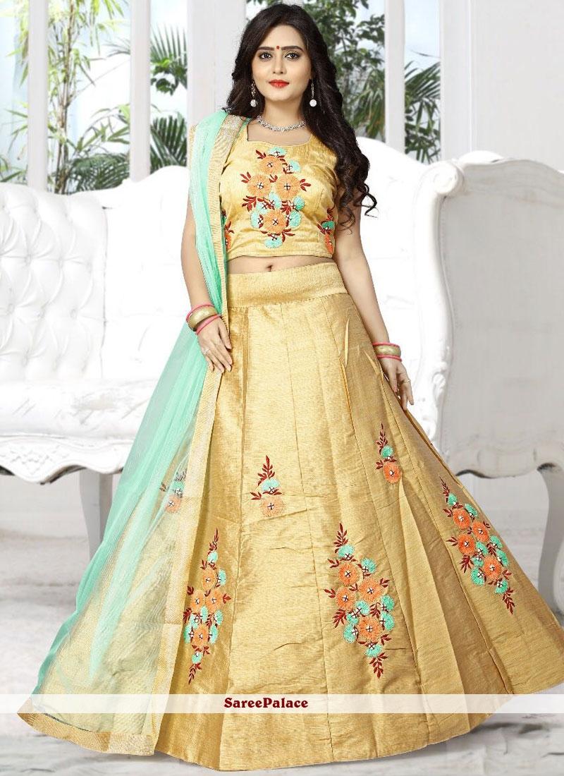 fb0dcb74e3 Buy Competent Beige Resham Work Silk Designer Lehenga Choli Online