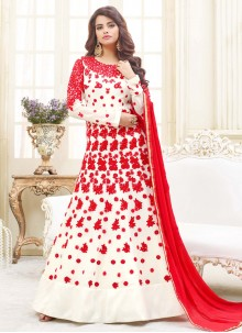 Competent Faux Georgette Red and White Embroidered Work Floor Length Anarkali Suit