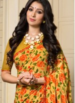 Competent Georgette Printed Work Work Casual Saree