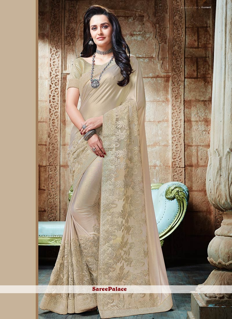 971819b43e Buy Competent Lycra Beige Classic Saree Online