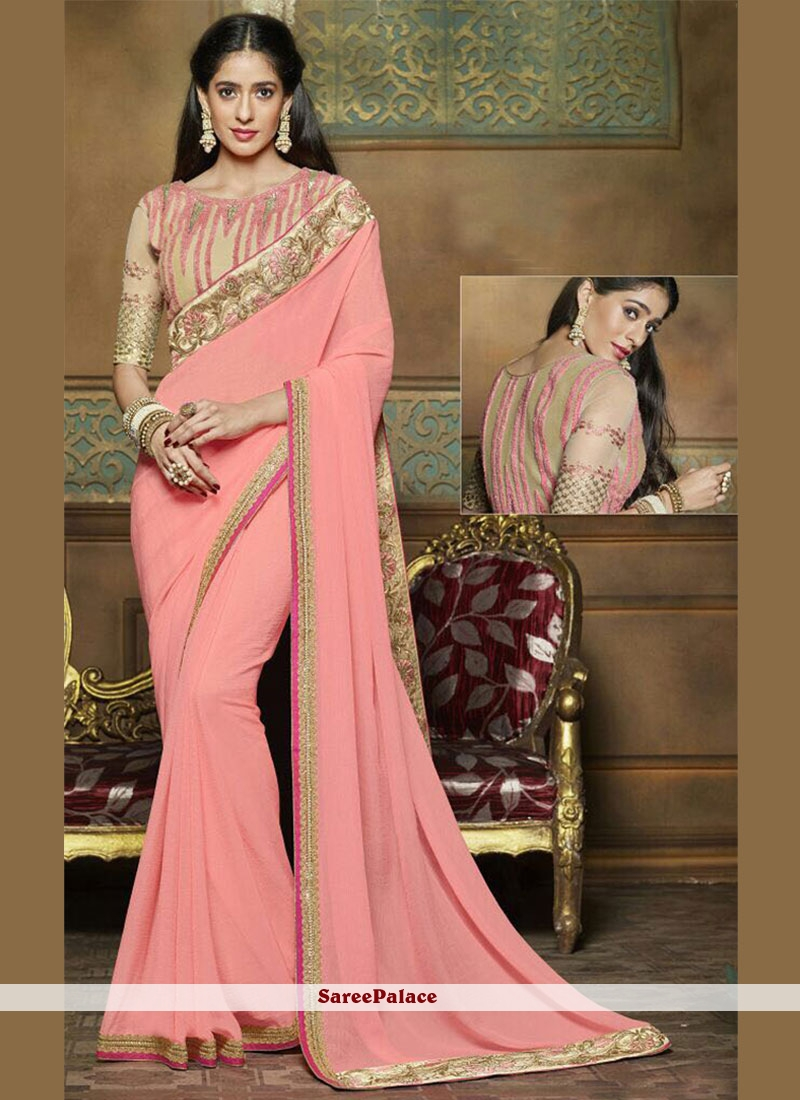 Competent Resham Work Fancy Fabric Classic Saree