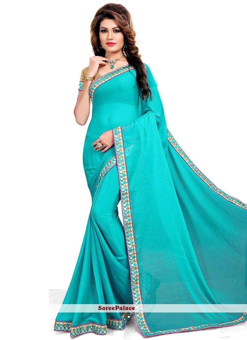 Competent Turquoise Classic Designer Saree
