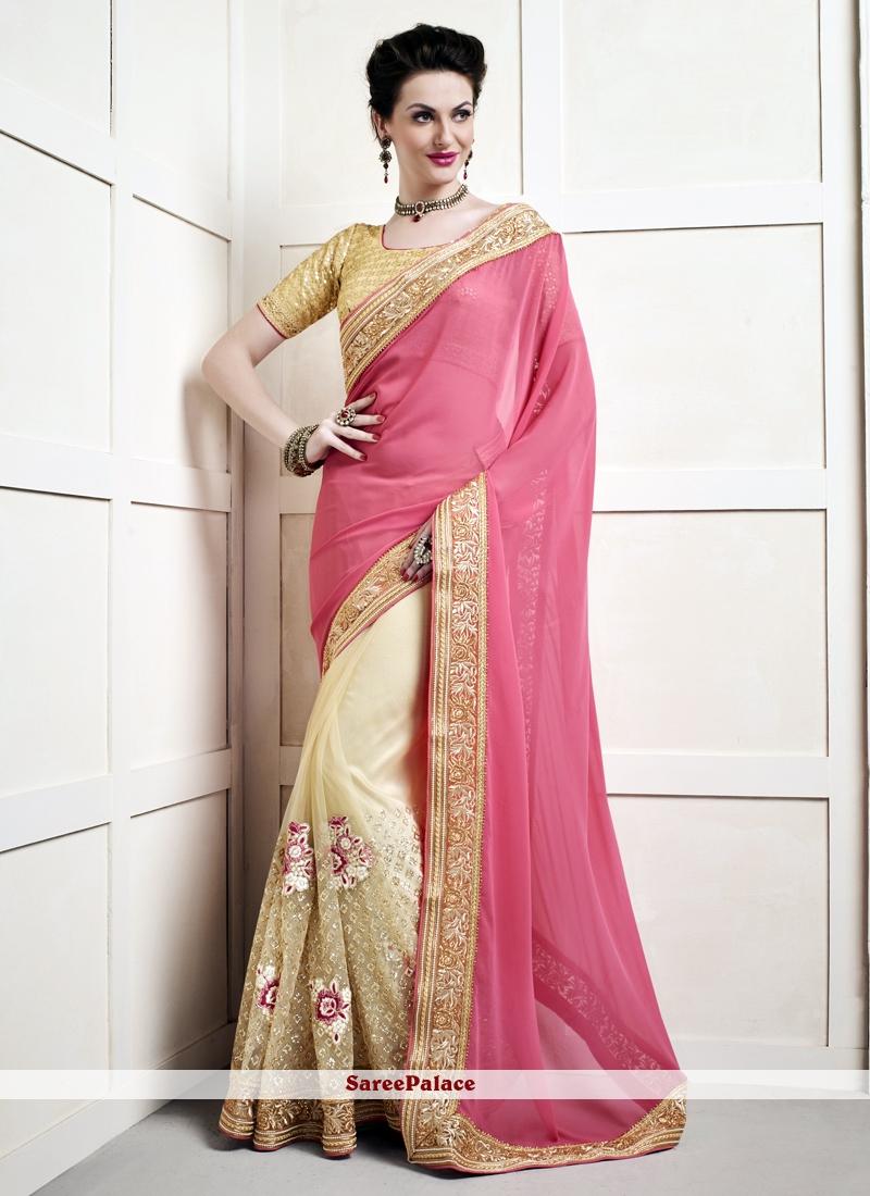 Competent Viscose Beige and Pink Designer Half N Half Saree