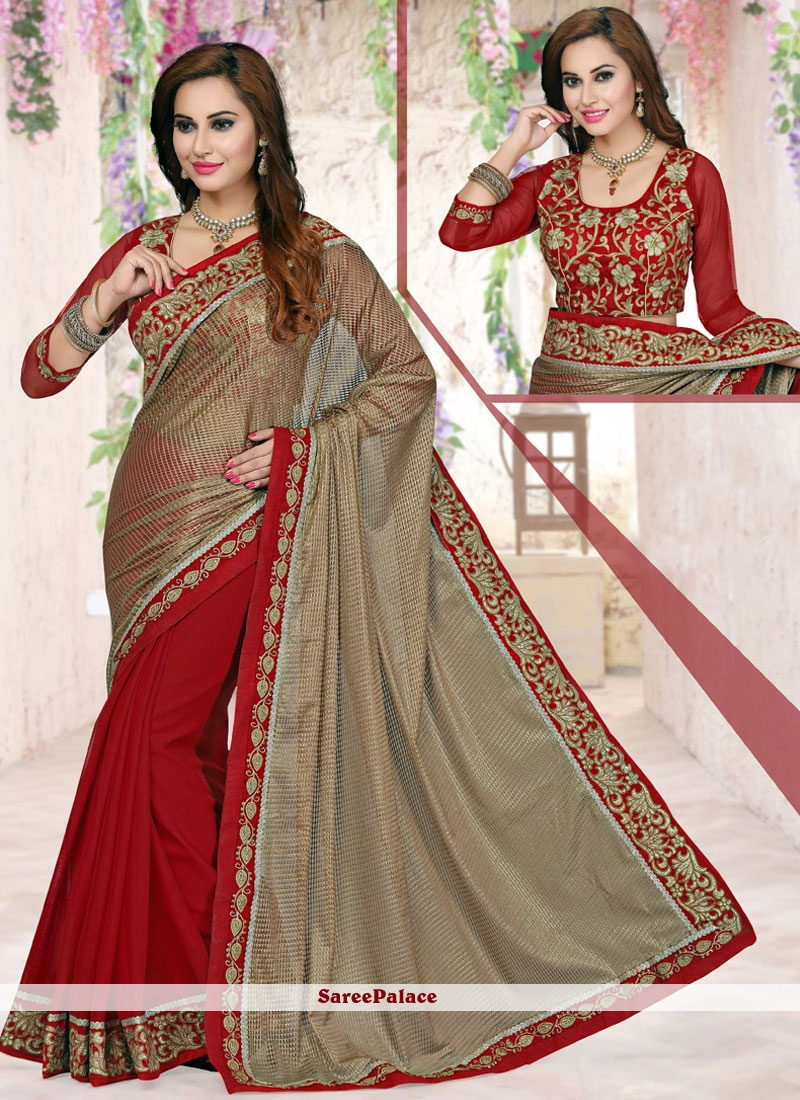 Competent Zari Work Designer Half N Half Saree