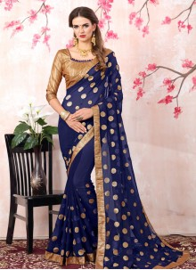 Competent Zari Work Navy Blue Bollywood Saree