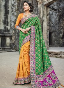 Congenial Banarasi Silk Designer Half N Half Saree