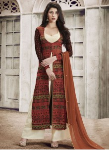 Congenial Embroidered Work Brown Faux Georgette Designer Palazzo Suit