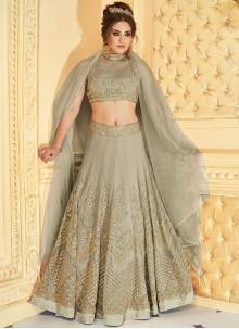 Congenial Fancy Fabric Grey Lehenga Choli
