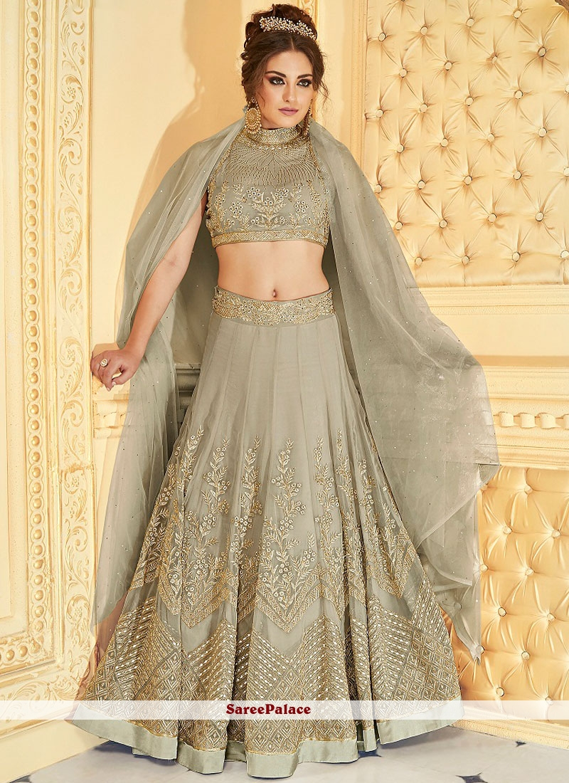 Congenial Fancy Fabric Grey Lehenga Choli