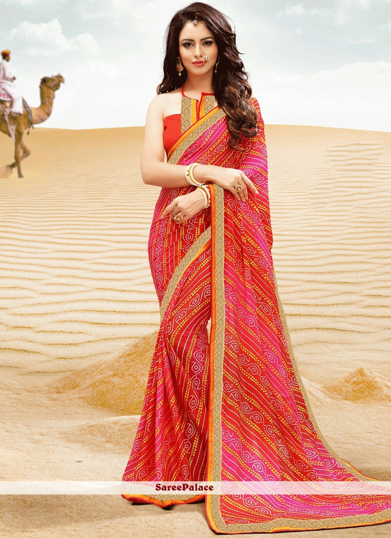 Congenial Faux Georgette Lace Work Printed Saree