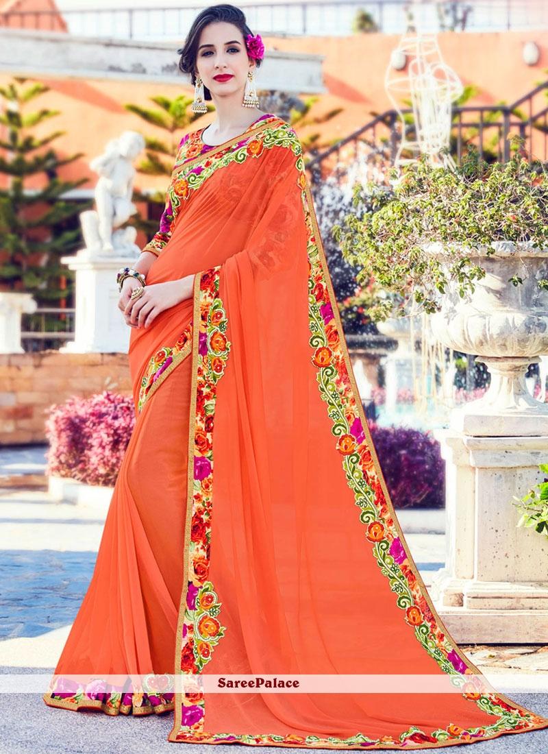 Congenial Orange Classic Saree