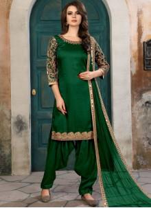 Conspicuous Embroidered Work Green Art Silk Salwar Kameez