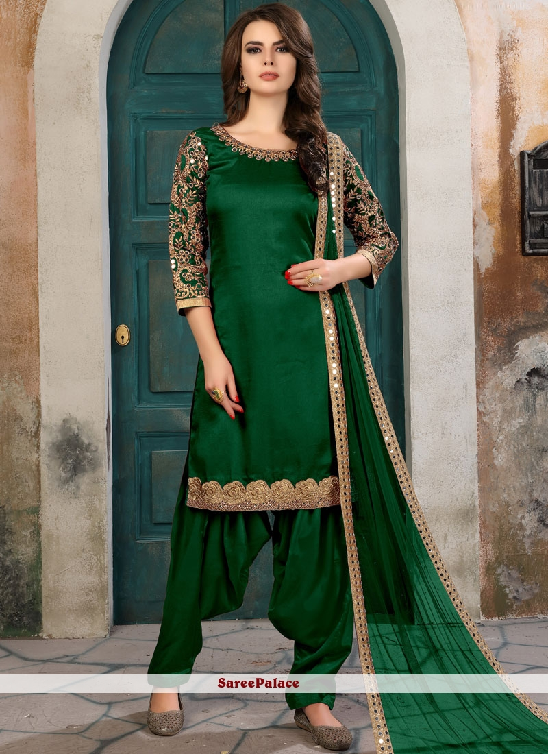 e2fc0a1466 Buy Conspicuous Embroidered Work Green Art Silk Salwar Kameez Online