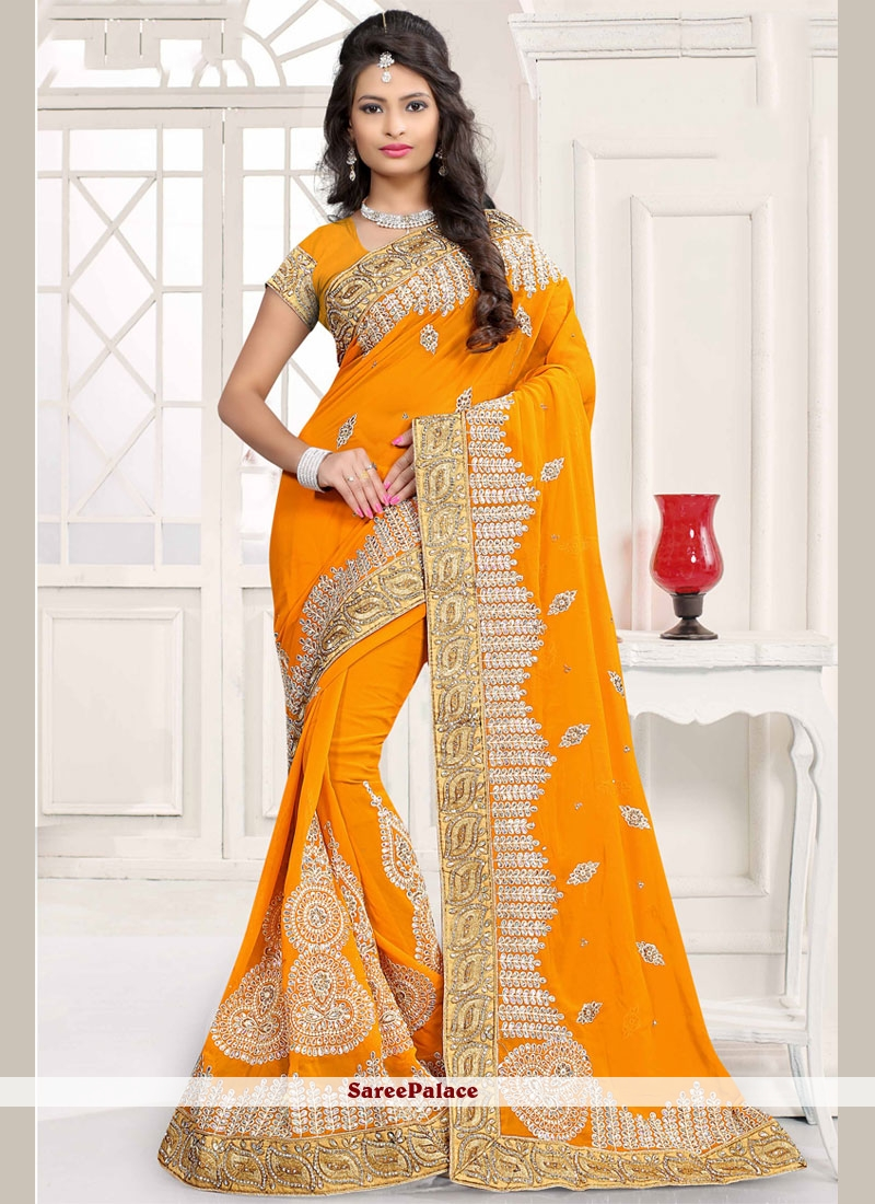 Conspicuous Faux Georgette Mustard Classic Saree