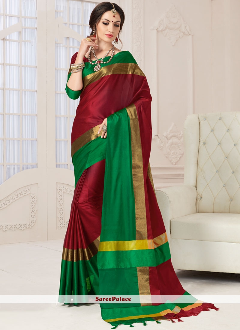 Conspicuous Maroon Art Silk Designer Traditional Saree