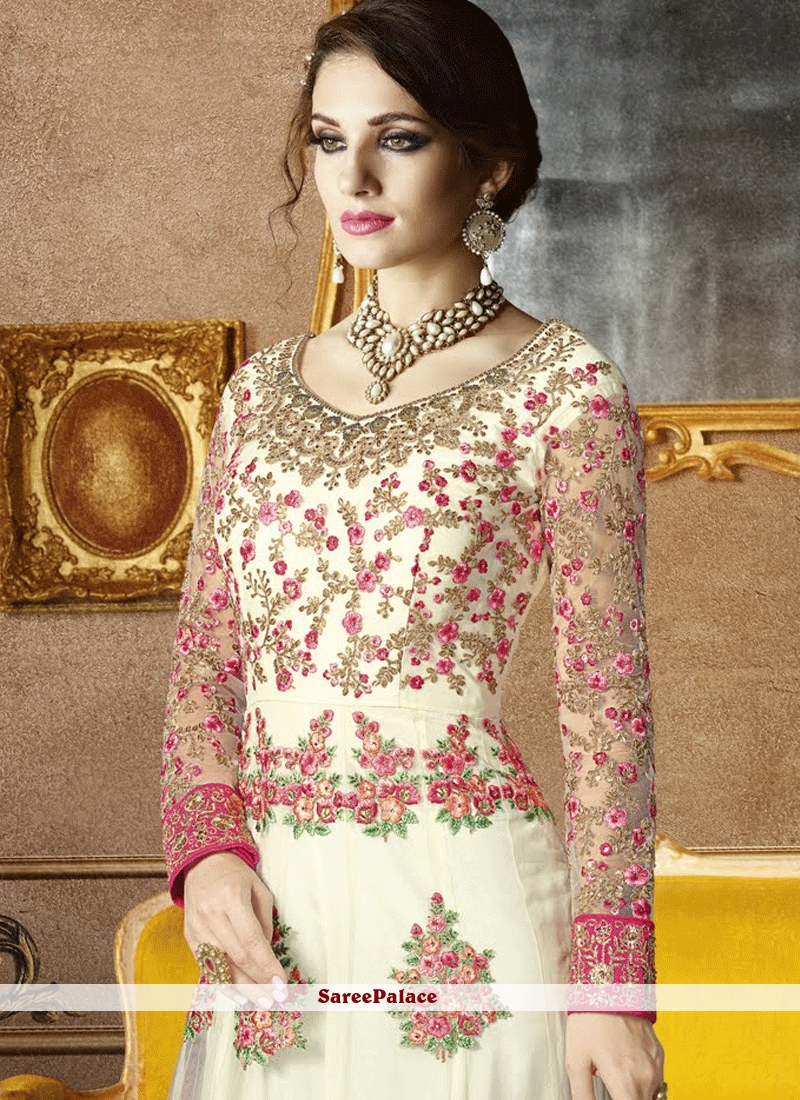 1479f7200b Conspicuous Net White Embroidered Work Floor Length Anarkali Suit ...