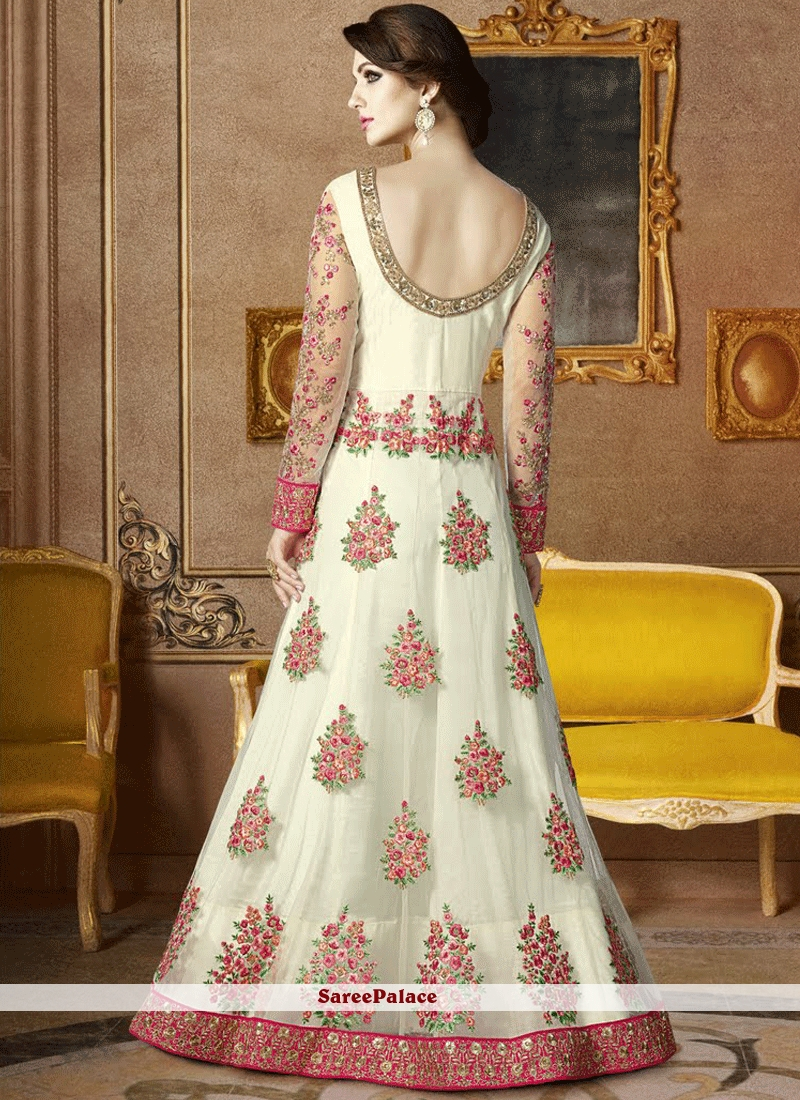 2b2830e65c ... Conspicuous Net White Embroidered Work Floor Length Anarkali Suit