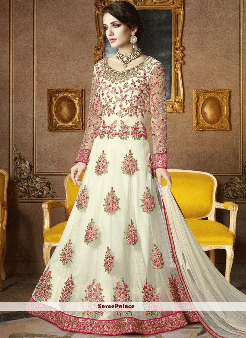 0062ac138a Buy Conspicuous Net White Embroidered Work Floor Length Anarkali Suit Online