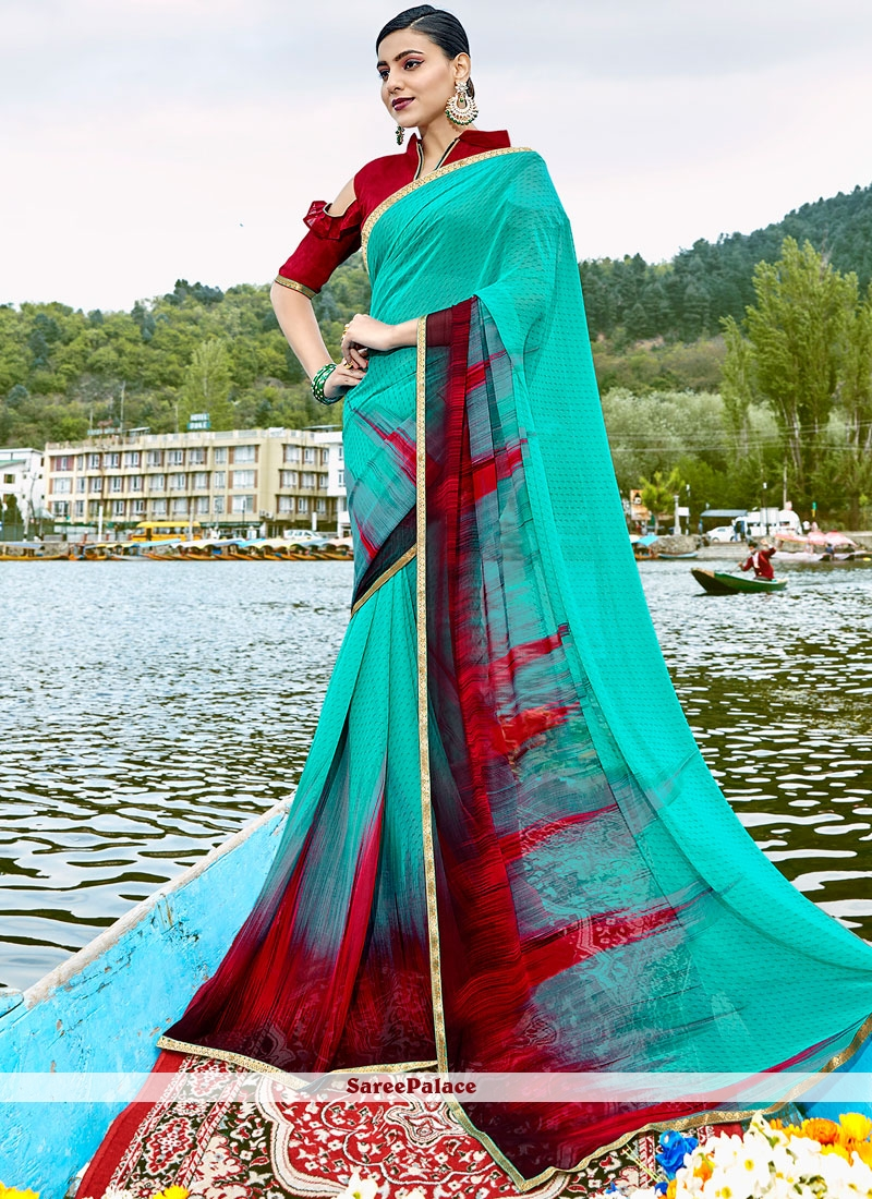 Conspicuous Print Work Multi Colour Weight Less Casual Saree
