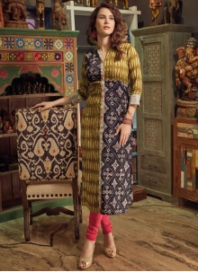 Conspicuous Print Work Party Wear Kurti