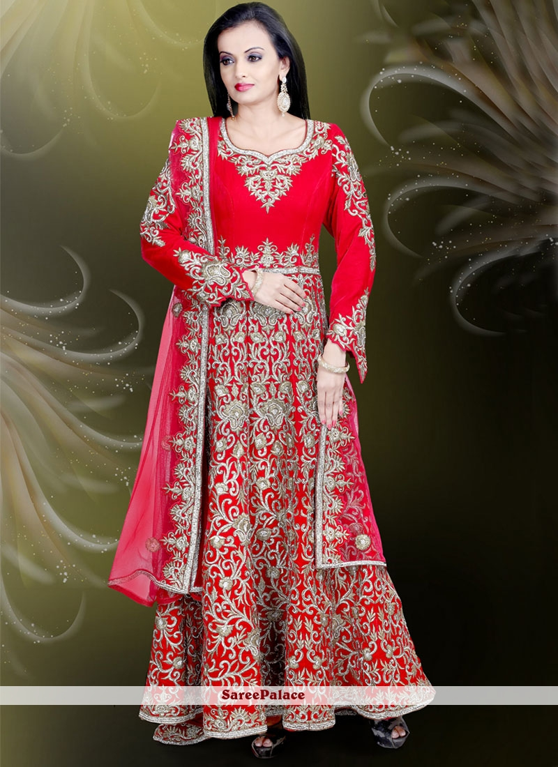 Buy Red Embroidered Velvet Gown Online