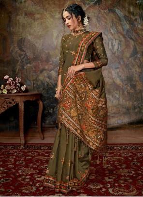 Contemporary Saree Digital Print Banarasi Silk in Green