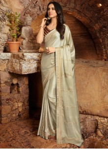 Contemporary Saree Embroidered Fancy Fabric in Off White